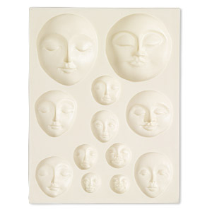 mold, sculpey, rubber, 4-3/4 x 3-3/4 inches with 11x11mm-47x38mm art doll faces. sold individually.