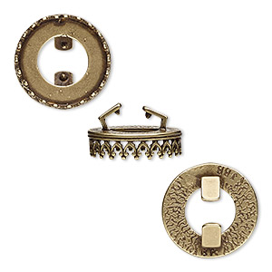 mount, almost instant jewelry and jbb findings, antiqued brass, 15.5mm round with open back and decorative trim with 14mm rivoli setting, 8x1.5mm inside diameter. sold individually.