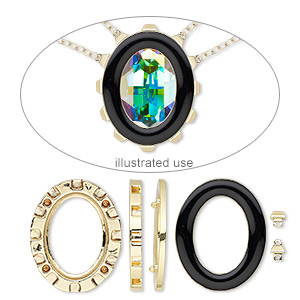 mount, miracle mount™, enamel and gold-finished pewter (zinc-based alloy), black, 39x32mm oval with 30x22mm oval setting. sold per 18-piece set.