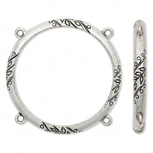 napkin holder, antiqued pewter (tin-based alloy), 50mm vine design ring with 4 loops. sold individually.