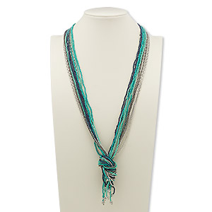 necklace, 11-strand, glass with silver- and gunmetal-plated steel, blue and turquoise green, 36 inches with knot. sold individually.