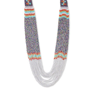 necklace, 16-strand, glass, purple and multicolored, 30 inches with hand-loomed design. sold individually.