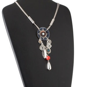 necklace, 2-strand, pewter (zinc-based alloy) / enamel / brass / glass rhinestone, multicolored, 40mm flat round with dangles, 16 inch snake chain with lobster claw clasp and 2-1/2 inch extender chain. sold individually.
