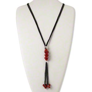 necklace, 2-strand, velvet cord / steel / glass / silver-coated plastic, black and red, 8x6mm faceted rondelle with 6-inch dangle, 32 inches with knotted end. sold individually.