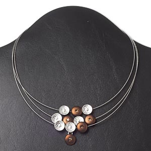 necklace, 3-strand, czech glass rhinestone / acrylic pearl / silver-plated steel, brown / topaz / white, 11mm cup flower, 16 inches with 3-inch extender chain and lobster claw clasp. sold individually.