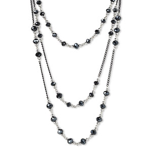 necklace, 3-strand, steel / glass / silver-colored plastic, metallic black, faceted rondelle and round, 30 inches with 2-inch extender chain and lobster claw clasp. sold individually.