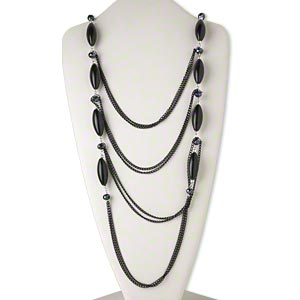 necklace, 4-strand, gunmetal-finished steel / glass / acrylic, metallic black and silver, faceted rondelle, 24 inches with lobster claw clasp. sold individually.