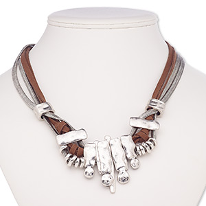 necklace, 4-strand, suede / antique silver-coated plastic / antique silver-plated steel / brass / pewter (zinc-based alloy), brown, fancy rectangle, 18 inches with 2-inch extender chain and lobster claw clasp. sold individually.