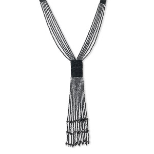 necklace, 6-strand, seed bead and thread, black, 26-1/2 inch hand-knitted with twelve 8-inch dangles. sold individually.