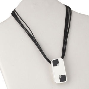 necklace, 6-strand, silver-plated brass / enamel / waxed cotton cord / crystal rhinestone, black / white / clear, 47x26mm rectangle, 16 inches with 3-inch extender chain and lobster claw clasp. sold individually.