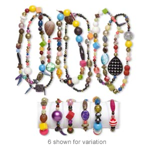 necklace and bracelet mix, stretch, acrylic, mixed colors, 5mm-50x49mm mixed shapes. sold per pkg of 3 sets.