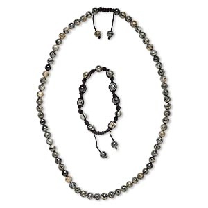 necklace and bracelet, spiderweb jasper (natural) and nylon, black, 7-8mm round, 22-25 inches with macrame knot closure, 7- to 10-inch bracelet with macrame knot closure, adjustable. sold per set.