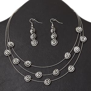 necklace and earring, 3-strand, antique silver-plated pewter (zinc-based alloy) and steel, 11mm rose, 16-inch necklace with lobster claw clasp and 3-inch extender chain, 2-inch earring with fishhook earwire. sold per set.