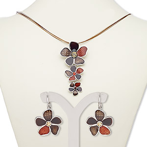 necklace and earring, 5-strand, enamel / glass rhinestone / silver-plated steel / pewter (zinc-based alloy), multi-brown, 3-inch dangle with flowers, 18-inch necklace with 2-inch extender chain and lobster claw clasp, 29mm earrings with leverback earwire. sold per set.