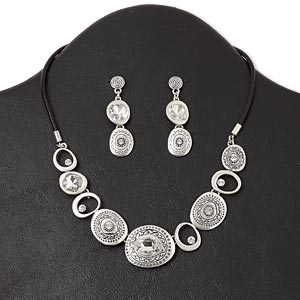 necklace and earring, antiqued silver-finished pewter (zinc-based alloy) and steel / glass rhinestone / leather (dyed), black and clear, irregular oval, 16-inch necklace with lobster claw clasp and 3-inch extender chain, 1-3/4 inch earring with post. sold per set.