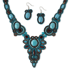 necklace and earring, glass / velveteen / copper french wire / silver-plated steel, brown and turquoise blue, 3 x 2-1/4 inch focal, 18 inches with lobster claw clasp and 2-inch extender chain, 1-3/4 inch earrings with fishhook earwire. sold per set.
