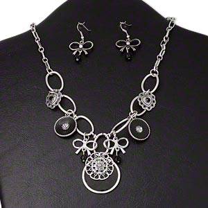 necklace and earring, glass rhinestone / epoxy / antiqued silver-finished steel / pewter (zinc-based alloy), clear and black, mixed shapes, 18 inches with 3-inch extender chain and lobster claw clasp, 1-1/2 inch earrings with fishhook earwire. sold per set.