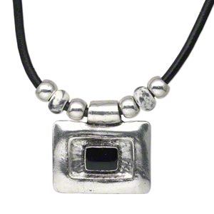 necklace, antique silver-plated pewter (zinc-based alloy) and steel / leather / porcelain, black / white / grey, 52x40mm rectangle with smooth leather cord, 18-inches with lobster claw clasp with 3-inch extender chain. sold individually.