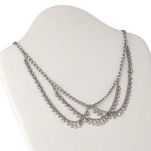 necklace, antiqued silver-plated brass, 22 inches and 3-inch extender chain with lobster claw clasp. sold individually.