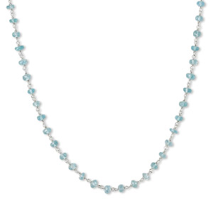 necklace, apatite (natural) and rhodium-plated sterling silver, light, 3.5-4mm hand-cut faceted rondelle, 18 inches with s-hook clasp. sold individually.