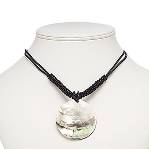 necklace, black lip shell (natural) / waxed cotton cord / glass / imitation rhodium-plated brass / steel, black, 50mm round, 18 inches with 3-inch extender chain and lobster claw clasp. sold individually.