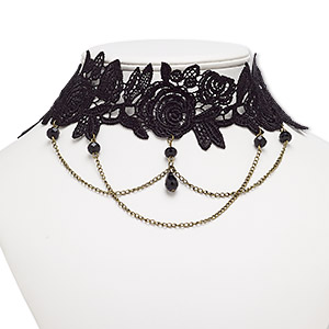 necklace, choker, nylon lace / acrylic / antique brass-plated steel / pewter (zinc-based alloy), black, 54mm wide with flower, 16 inches with 2-inch extender chain and lobster claw clasp. sold individually.