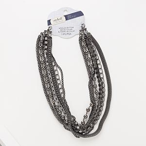 necklace component, 7-strand, glass rhinestone / gunmetal-coated plastic / gunmetal-finished steel / pewter (zinc-based alloy), clear, 18 inches. sold individually.