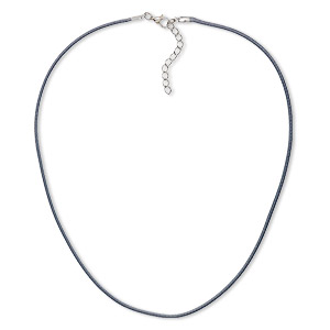 necklace cord, imitation leather with imitation rhodium-finished steel and pewter (zinc-based alloy), dark grey, 2mm wide, 16 inches with 1-1/2 inch extender chain and lobster claw clasp. sold per pkg of 10.