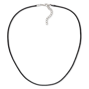 necklace cord, imitation leather with imitation rhodium-finished steel and pewter (zinc-based alloy), black, 2mm wide, 20 inches with 1-1/2 inch extender chain and lobster claw clasp. sold per pkg of 10.