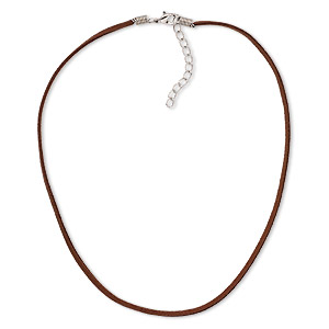 necklace cord, imitation suede with silver-plated steel and pewter (zinc-based alloy), brown, 2.5-3mm wide, 16 inches with 3-inch extender chain and lobster claw clasp. sold per pkg of 10.