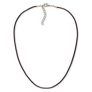necklace cord, leather and imitation rhodium-plated brass and steel, brown, 2mm round, 18 inches with 2-inch extender chain and lobster claw clasp. sold per pkg of 6.