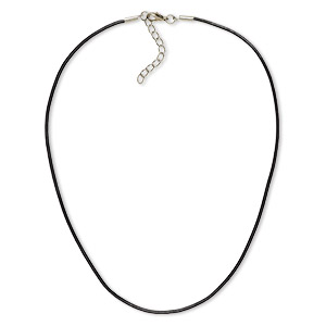 necklace cord, leather (dyed) with imitation rhodium-plated brass and steel, black, 2mm round, 24 inches with 2-inch extender chain and lobster claw clasp. sold per pkg of 6.