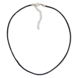 necklace cord, nylon with silver-plated steel and pewter (zinc-alloy), black, 2mm round, 16 inches with 3-inch extender chain and lobster claw clasp. sold per pkg of 10.