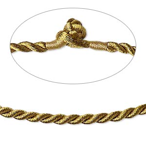 necklace cord, satin-finished nylon, antique gold, 3mm smooth twist, 20 inches with knot closure. sold per pkg of 2.
