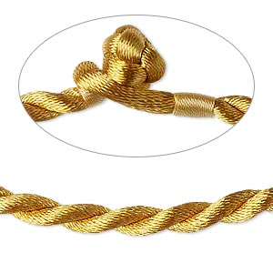 necklace cord, satin-finished nylon, antique gold, 5mm smooth twist, 18 inches with knot closure. sold per pkg of 2.
