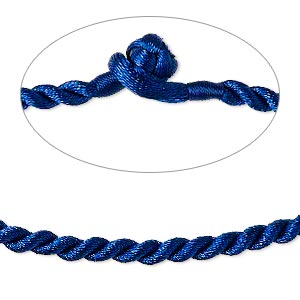 necklace cord, satin-finished nylon, blue, 3mm smooth twist, 16 inches with knot closure. sold per pkg of 2.