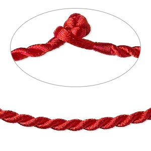 necklace cord, satin-finished nylon, red, 3mm smooth twist, 16 inches with knot closure. sold per pkg of 2.