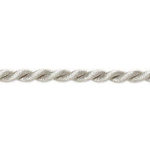 necklace cord, satin-finished nylon, silver, 3mm twisted, 18 inches with knot closure. sold per pkg of 2.