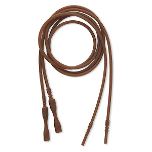 necklace cord, silicone, opaque brown, 2.2-2.5mm wide, 18 inches with snap closure. sold per pkg of 4.