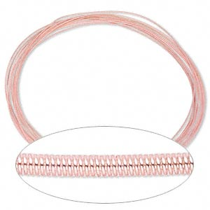 necklace cord, steel, light pink, 1.3mm coil, 18 inches with twist-in ends. sold per pkg of 10.