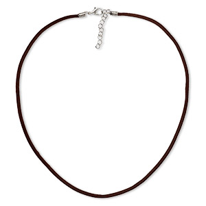 necklace cord, velveteen with imitation rhodium-finished steel and pewter (zinc-based alloy), brown, 3mm wide, 16 inches with 1-1/2 inch extender chain and lobster claw clasp. sold per pkg of 3.