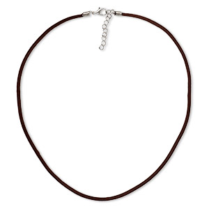 necklace cord, velveteen with imitation rhodium-finished steel and pewter (zinc-based alloy), brown, 3mm wide, 20 inches with 1-1/2 inch extender chain and lobster claw clasp. sold per pkg of 3.