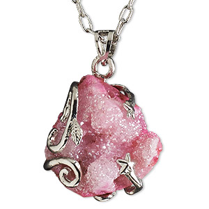 necklace, electroplated druzy agate (coated) and imitation rhodium-plated brass, pink, 30x20mm-38x28mm hand-cut wire-wrapped freeform, 20 inches with 2-1/2 inch extender chain and lobster claw clasp. sold individually.