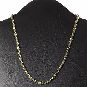 necklace, faux suede / imitation rhodium-plated steel / silver-finished brass, light forest green, 6mm wide, 18 inches with 2-inch extender chain and lobster claw clasp. sold individually.