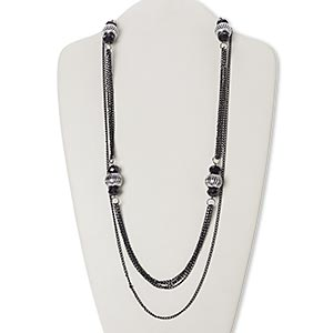 necklace, glass / acrylic / steel / silver-coated plastic, black, rondelle, 34-inch continuous loop. sold individually.