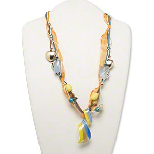 necklace, glass and acrylic, multicolored, 74x31mm swirled focal with mixed size and shape accent beads, 27-inch cotton waxed cord/velveteen cord/leather ribbon with 2-inch steel extender and lobster claw clasp. sold individually.