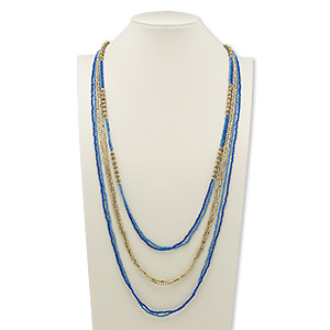 necklace, glass and gold-finished steel, dark blue and light blue, 40 inches with 2-inch extender chain and lobster claw clasp. sold individually.