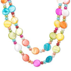 necklace, glass pearl and mother-of-pearl shell (dyed), multicolored, 20mm flat round and 8mm round, 44-inch continuous loop. sold individually.