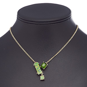 necklace, glass rhinestone / glass / resin / gold-finished brass / steel, green / light green / opalescent light green, rectangle, 16 inches with 2-inch extender chain and lobster claw clasp. sold individually.