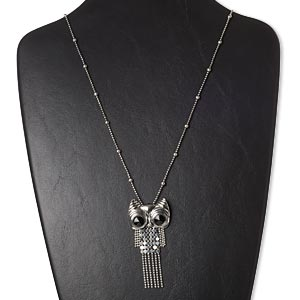 necklace, glass rhinestone / silver-plated brass / steel / antique silver-plated pewter (zinc-based alloy), black, 3 x 1-1/3 inch owl, 27 inches with 3-inch extender chain and lobster claw clasp. sold individually.
